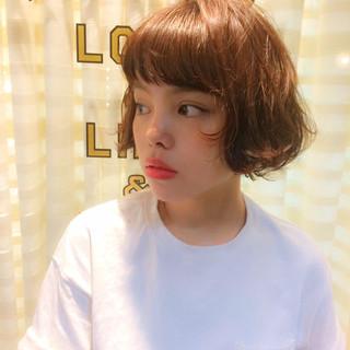 ピュア 前髪あり パーマ ボブ ヘアスタイルや髪型の写真・画像