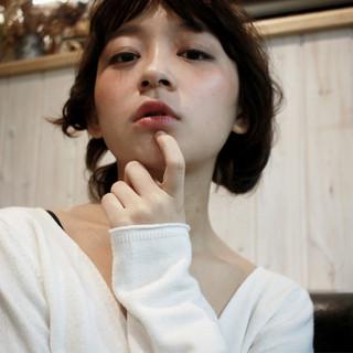ヘアアレンジ ミディアム 外国人風 フェミニン ヘアスタイルや髪型の写真・画像
