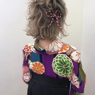 謝恩会 ヘアアレンジ ブリーチ ボブ ヘアスタイルや髪型の写真・画像