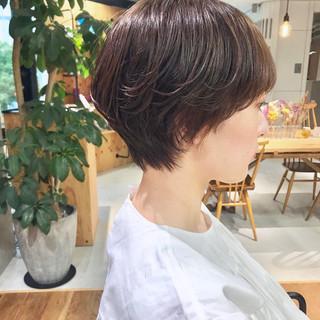 マッシュショート ナチュラル ショート 透け感ヘア ヘアスタイルや髪型の写真・画像