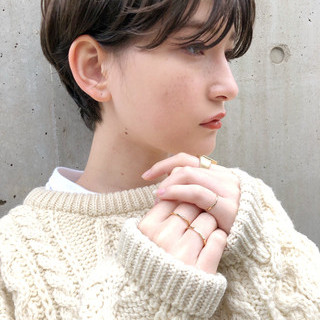 フェミニン ハンサムショート デート ナチュラル可愛い ヘアスタイルや髪型の写真・画像