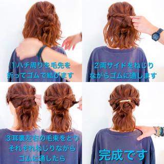 ロング 簡単ヘアアレンジ ショート フェミニン ヘアスタイルや髪型の写真・画像 ヘアスタイルや髪型の写真・画像