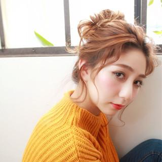 お団子 大人かわいい ヘアアレンジ 簡単ヘアアレンジ ヘアスタイルや髪型の写真・画像