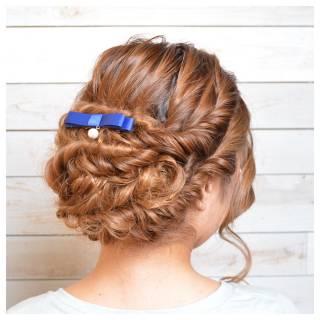 編み込み アップスタイル パーティ ヘアアレンジ ヘアスタイルや髪型の写真・画像 ヘアスタイルや髪型の写真・画像