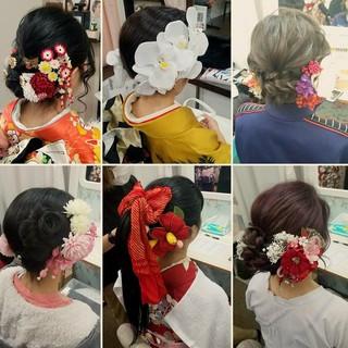 セミロング フェミニン 成人式 アップスタイル ヘアスタイルや髪型の写真・画像