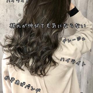 コントラストハイライト バレイヤージュ ハイライト 地毛ハイライト ヘアスタイルや髪型の写真・画像