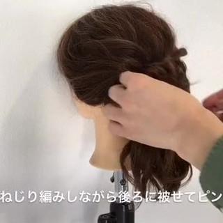 セミロング 簡単ヘアアレンジ ポニーテール ナチュラル ヘアスタイルや髪型の写真・画像