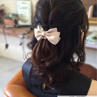 ゆるふわ ハーフアップ ヘアアレンジ ショート ヘアスタイルや髪型の写真・画像