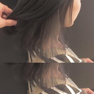 秋 ストリート インナーカラー ミディアム ヘアスタイルや髪型の写真・画像