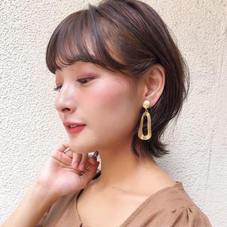 透明感カラー ナチュラル くびれボブ 秋ブラウン ヘアスタイルや髪型の写真・画像