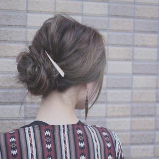 簡単ヘアアレンジ グラデーションカラー ロング フェミニン ヘアスタイルや髪型の写真・画像