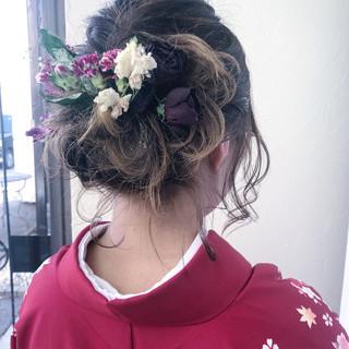 セミロング ドライフラワー 結婚式 ナチュラル ヘアスタイルや髪型の写真・画像 ヘアスタイルや髪型の写真・画像