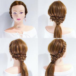 簡単ヘアアレンジ 女子会 フェミニン アウトドア ヘアスタイルや髪型の写真・画像