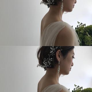 パーティ エレガント ショート 透明感 ヘアスタイルや髪型の写真・画像