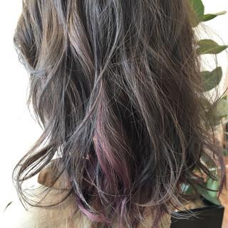 モード ピンク ミディアム ピンクアッシュ ヘアスタイルや髪型の写真・画像