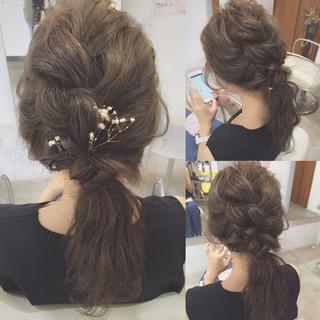 大人かわいい セミロング 編み込み 二次会 ヘアスタイルや髪型の写真・画像
