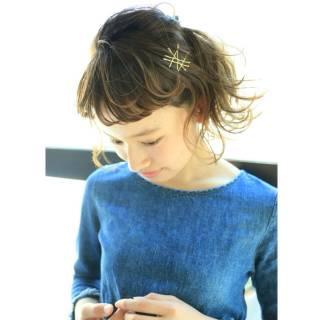 パーマ 簡単ヘアアレンジ ショート ナチュラル ヘアスタイルや髪型の写真・画像 ヘアスタイルや髪型の写真・画像