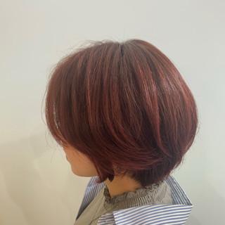 暖色 ボブ ガーリー ブラットオレンジ ヘアスタイルや髪型の写真・画像