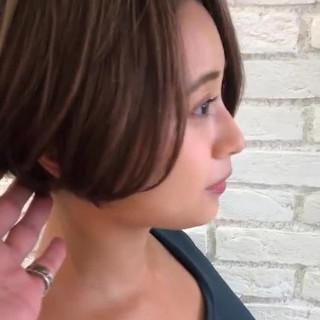 ショート 簡単ヘアアレンジ 小顔 エフォートレス ヘアスタイルや髪型の写真・画像