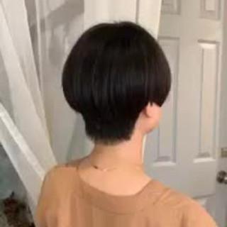 黒髪 秋冬ショート ボブ 縮毛矯正 ヘアスタイルや髪型の写真・画像