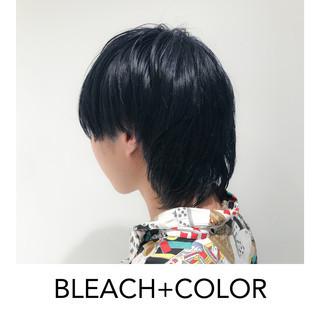 ナチュラル メンズカット ネイビーブルー ショート ヘアスタイルや髪型の写真・画像