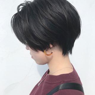 暗髪 ショート モード ボブ ヘアスタイルや髪型の写真・画像
