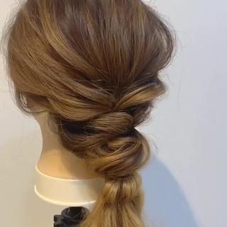 ゆるふわ 簡単ヘアアレンジ ヘアアレンジ フェミニン ヘアスタイルや髪型の写真・画像