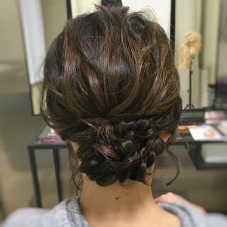 お呼ばれヘア ミディアム 結婚式 パーティヘア ヘアスタイルや髪型の写真・画像