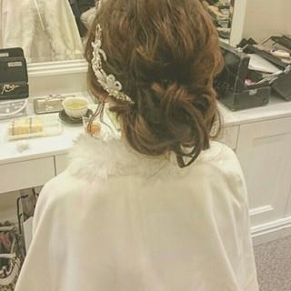ゆるふわ 波ウェーブ ドレス ヘアアレンジ ヘアスタイルや髪型の写真・画像