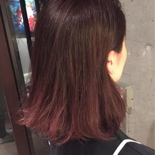 ピンク モーブ ストリート ボブ ヘアスタイルや髪型の写真・画像