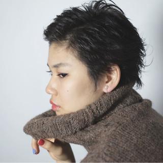 黒髪 モード ショート 前髪なし ヘアスタイルや髪型の写真・画像