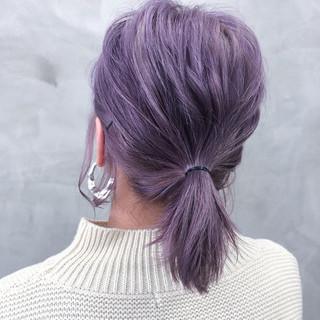 デザインカラー ダブルカラー ブルーラベンダー ストリート ヘアスタイルや髪型の写真・画像