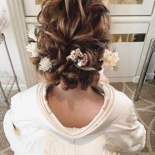 ヘアアレンジ ガーリー 結婚式髪型 セミロング ヘアスタイルや髪型の写真・画像