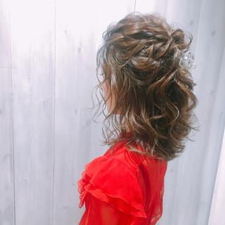 ヘアアレンジ 結婚式ヘアアレンジ 結婚式髪型 ミディアム ヘアスタイルや髪型の写真・画像
