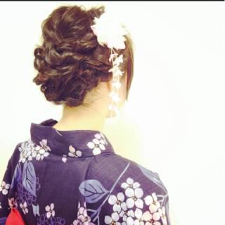 ヘアアレンジ お祭り 花火大会 黒髪 ヘアスタイルや髪型の写真・画像