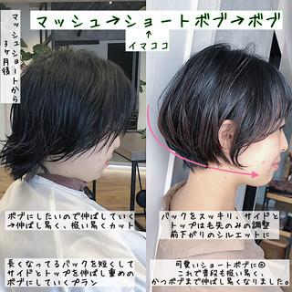 ショート マッシュショート 耳掛けショート ストレート ヘアスタイルや髪型の写真・画像