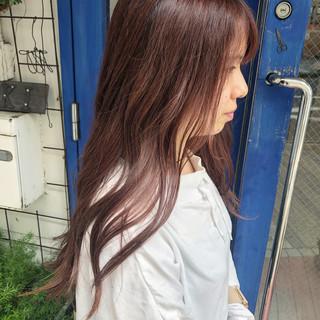 ピンク ロング ピンクベージュ ヘアアレンジ ヘアスタイルや髪型の写真・画像