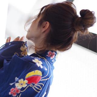 和装 ロング デート ナチュラル ヘアスタイルや髪型の写真・画像