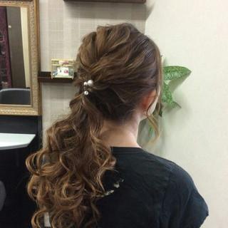 ヘアアレンジ 編み込み 結婚式 ナチュラル ヘアスタイルや髪型の写真・画像