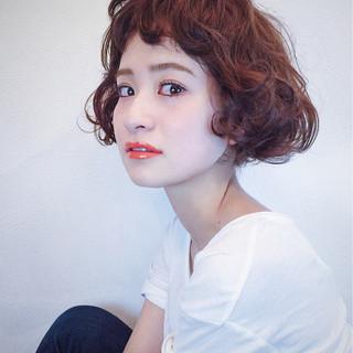 パーマ ナチュラル ボブ 外国人風 ヘアスタイルや髪型の写真・画像