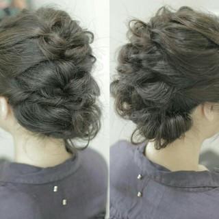 大人かわいい ヘアアレンジ ショート 編み込み ヘアスタイルや髪型の写真・画像