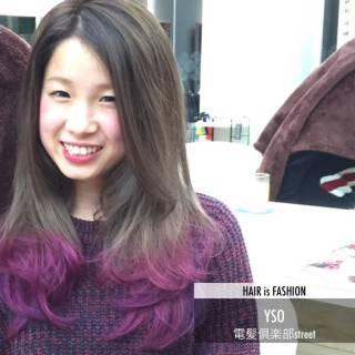 ピンク ツートン パープル ガーリー ヘアスタイルや髪型の写真・画像