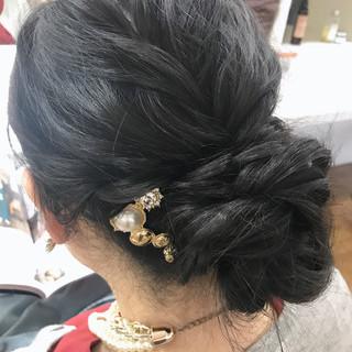 結婚式 ナチュラル バレッタ ロング ヘアスタイルや髪型の写真・画像