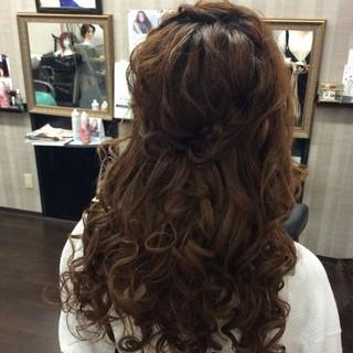 ハーフアップ ヘアアレンジ 結婚式 編み込み ヘアスタイルや髪型の写真・画像 ヘアスタイルや髪型の写真・画像