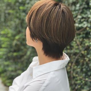 3Dカラー ハイライト ショート マッシュショート ヘアスタイルや髪型の写真・画像