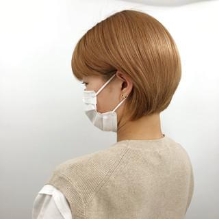 ショートボブ ナチュラル 髪質改善 切りっぱなしボブ ヘアスタイルや髪型の写真・画像