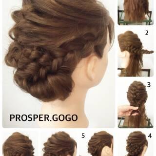 ヘアアレンジ 編み込み 結婚式 モテ髪 ヘアスタイルや髪型の写真・画像