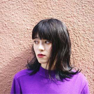 暗髪 ボブ 切りっぱなし ストリート ヘアスタイルや髪型の写真・画像