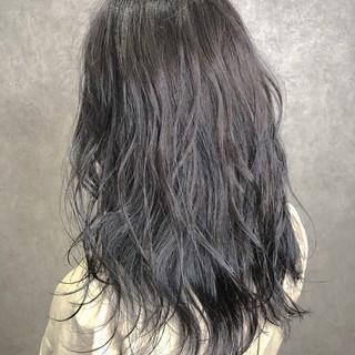 グラデーションカラー セミロング アッシュグレージュ ハイライト ヘアスタイルや髪型の写真・画像