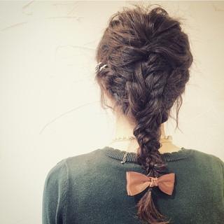 くるりんぱ アッシュ ヘアアレンジ セミロング ヘアスタイルや髪型の写真・画像